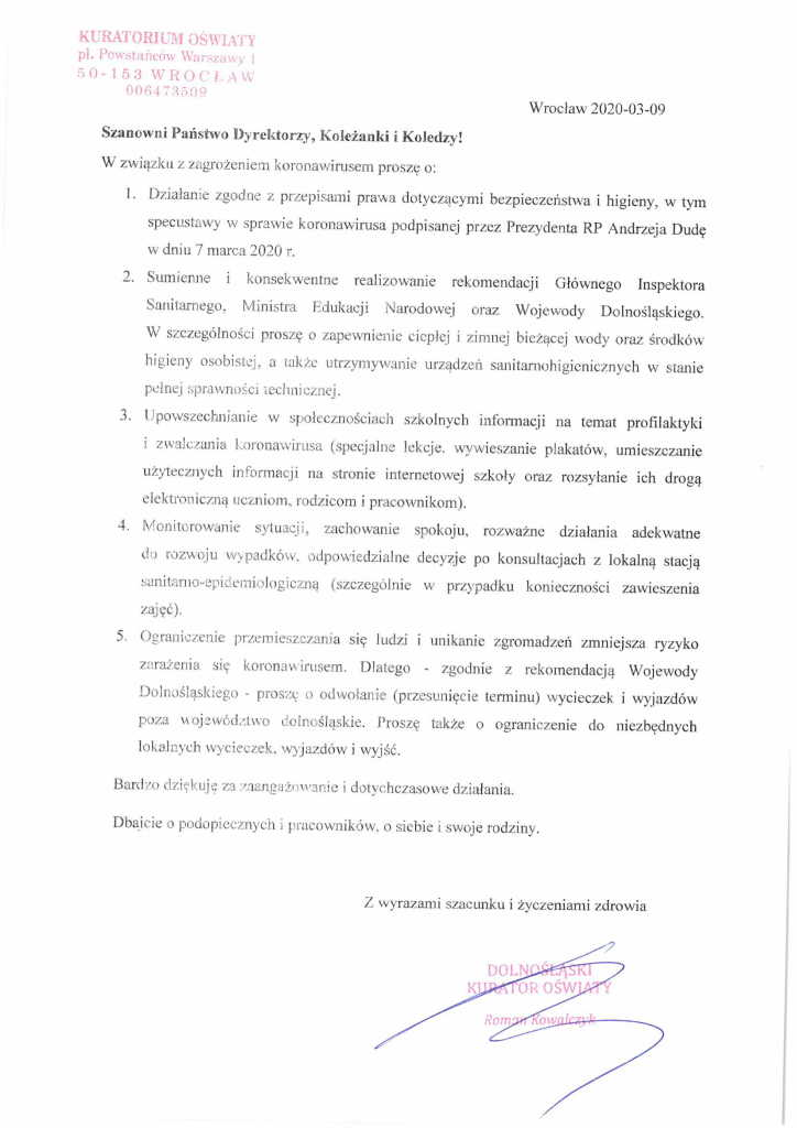 List Dolnośląskiego Kuratora Oświaty do dyrektorów przedszkoli, szkół i placówek-1